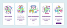 Genetic Diseases Treatment Onboarding Mobile App Page Screen With Concepts. Healthcare Walkthrough 5 Steps Graphic Instructions. UI, UX, GUI Vector Template With Linear Color Illustrations