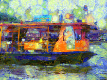 River Passenger Boat Illustrations Creates An Impressionist Style Of Painting.