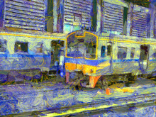 Diesel Locomotives And Trains At The Garage Illustrations Creates An Impressionist Style Of Painting.