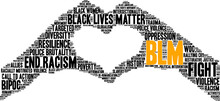 BLM Word Cloud On A White Background.