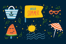 Beach Set For Recreation. Cartoon Summer Pattern. Travel Concept With Doodles. Beach Bag, Ice Cream, Watermelon, Sun Glasses. Vector Illustration