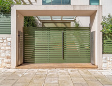 Modern Design House Entrance With Olive Green Painted Door, Athens Greece