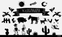 Xilogravura, Elementos Nordestinos, Juninos, São João, Cactus, Pássaros, Bird, Woodcut, Jumento, Bode, Galinha, Goat, Chicken