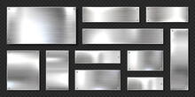Realistic Shiny Metal Banners Set. Brushed Steel Plate With Screws. Polished Silver Metal Surface. Vector Illustration.