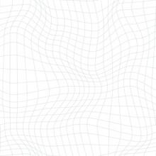 Warped Monochrome Grid Pattern. Seamless Vector