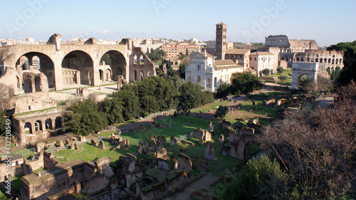 Fotografie, Obraz Rome, Italy, January 2007: Landscape of the Roman Forum from the hill