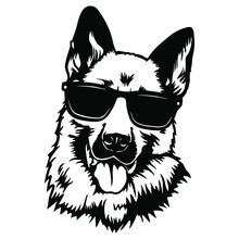 German Shepherd Dog Wearing Sunglasses  Dog Puppy Portrait Instant Download Includes Cricut, Cameo German Shepherd Silhouette