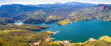 Great Aerial Panorama Of The Sau Reservoir In The Area Of The Dam, Seen From The Cliffs Of Tavertet. Tavertet. Collsacabra, Osona, Catalonia, Spain