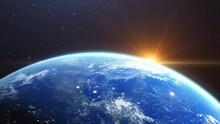 Beautiful 3d Earth Planet Animation. Space Zoom Rotating View, Concept Of Climate Change, Globalization,cosmos And Sunrise. World Planet Satellite .Stars , Nebula And Galaxy Black Background In 4k.
