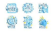 Natural Water Spring Badge Design With Blue Drops Vector Set