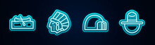 Set Line Kayak Or Canoe, Native American Indian, Igloo Ice House And Canadian Ranger Hat. Glowing Neon Icon. Vector