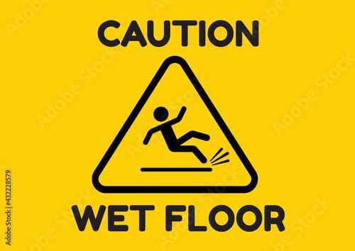Canvas Beware slippery surface sign, Hazard warning symbol,