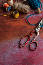 Vintage Scissors With String