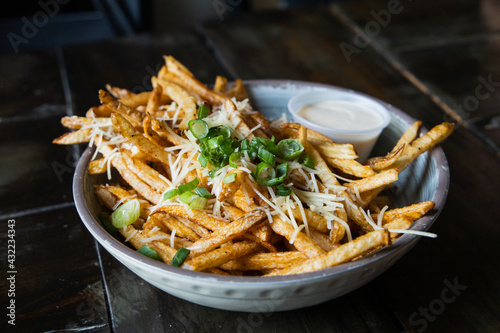 A large bowl of gourmet black truffle french fries in a bowl sprinkled with shredded parmesan cheese.