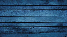 Old Blue Wood Background With Aged Boards Lined Up. Wooden Floor Planks With Grain And Texture.