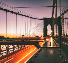 Brooklyn Bridge At Sunrise Traffic New York City Beautiful Place Usa Love