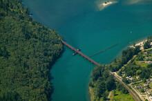 Aerial Of A Train Bridge Leading To Hope British Columbia Highway, Canada