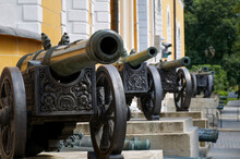 A Row Of Historic Cannons In The Vintage Artillery Exposition Outside The Arsenal In The Kremlin, Moscow, Russia