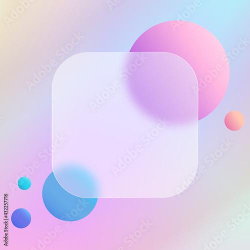 Obraz Abstrakcyjne tęczowe tło z szklanym matowym kwadratem z miejscem na tekst. Ilustracja dla social media story, internetowe projekty, aplikacje. - fototapety do salonu