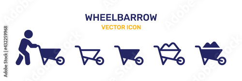 Wheelbarrow icons vector set. Gardening tools collection. Fototapete