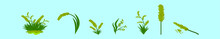 Set Of Sea Oats Cartoon Icon Design Template With Various Models. Vector Illustration Isolated On Blue Background