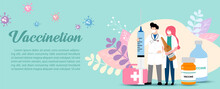 Doctor In Cartoon Character With A Giant Syringe And Holding Vaccine Bottle, Medical Bag On Decoration Plants And Vaccination Wording, Example Texts And Green Background.