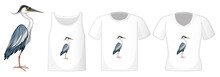 Set Of Different Shirts With Great Blue Heron Cartoon Character Isolated On White Background