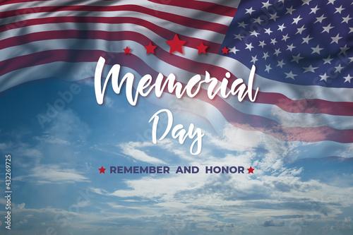 Fényképezés Memorial day card with flag and text