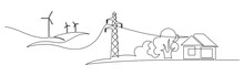 Wind Energy In Continuous Line Art Drawing Style. Landscape With Wind Turbines Producing Electricity, Power Line And Abstract Private Home Consumer. Black Linear Design Isolated On White Background
