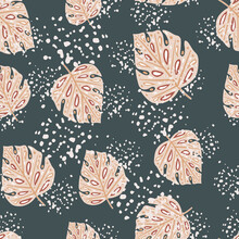 Random Pink Monstera Leaf Ornament Seamless Doodle Pattern. Tropic Foliage Print. Background With Splashes.