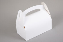 White Blank Paper Pastries Candies Box With Handle In Grey Background