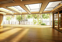 Empty Terrace Restaurant Area Inside A Subropical Resort- 3d Architectural Visualization