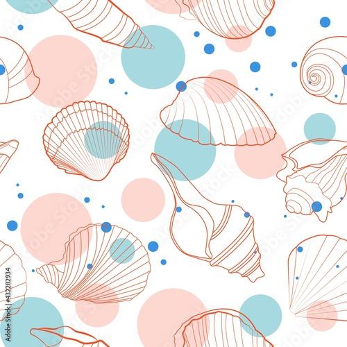 Canvas Print Freshness vibes seashells seamless pattern