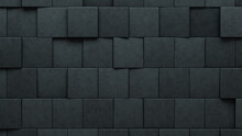 Polished, Concrete Wall Background With Tiles. Futuristic, Tile Wallpaper With 3D, Square Blocks. 3D Render