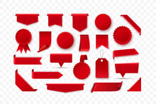 Set Of Red Blank Ribbons, Tags, Badges And Labels Isolated. Vector Illustration