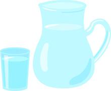 水が入ったガラスの水差しとグラス