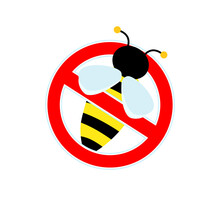 Stop Sign, Watch Out For Bees Or Wasp. Red Sign No Honey.