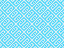 Diagonal Greek Key Style Repeating Pattern In Turquoise Blue On A Light Gray Background, Geometric Vector Illustration