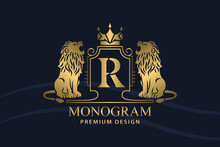 Golden Coat Of Arms With Roaring Lions. Letter R. Art Design With Crown. Creative Logo With Royal Character. Vintage Emblem. Two Wild Animals. Luxury Style. Good For Brand Name. Vector Illustration
