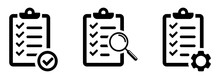 Clipboard Icons Set, Isolated On White Background. Checklist With Check Marks, Gears And Magnifying Glass. Quality Control Line Sign. Form Icon. Clipboard With Technical Support Checklist. Vector