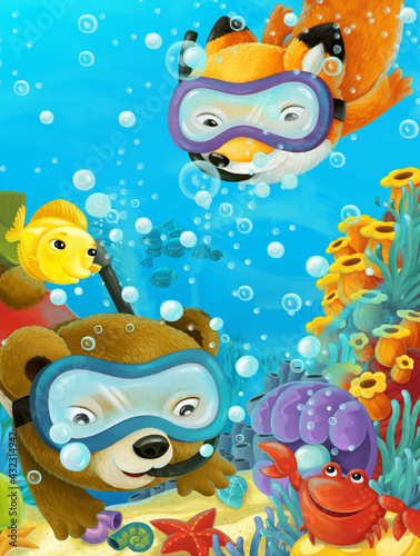 Fototapeta premium cartoon ocean scene coral reef forest animals diving