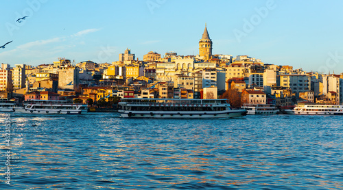 Foto Istanbul, view from the Galata tower across the Golden Horn