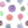 Seamless pattern of silhouettes of flowers on a background of multicolored spots.