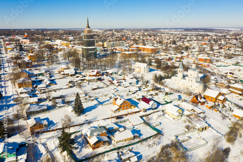 Stampa su Tela Aerial view of Russian town of Venyov overlooking temple complex of former Epiphany monastery and belfry of St
