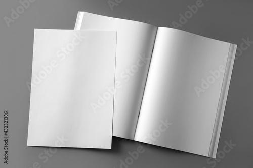 Paper sheet and open blank brochure on light grey background, flat lay - fototapety na wymiar