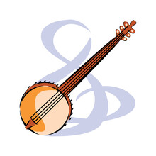 Vector Illustration Of A Banjo Isolated On A White Background. Banjo, Musical Instrument In Flat Style In EPS10