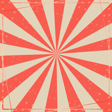 Vintage, Grunge Red Circus Background Template. Vector Illustration