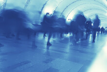 Blurred Background Walking People Crowd Legs / Gray Background Movement Traffic Abstract People Crowd, Concept City