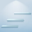Abstract background with 3d blue empty shelves on the wall. Vector