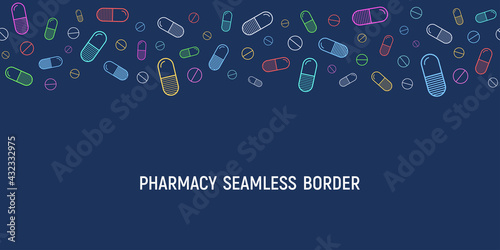 Seamless horizontal border vector pattern with outline colored pills, tablets, isolated on dark blue background Fototapet